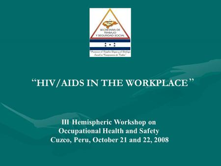 "III Hemispheric Workshop on Occupational Health and Safety Cuzco, Peru, October 21 and 22, 2008 "" HIV/AIDS IN THE WORKPLACE """