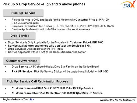 Profitable Growth Thru' B3X Number One for the Customer ! Pick up & Drop Service –High end & above phones Pick up Service Is Only applicable for the Models.