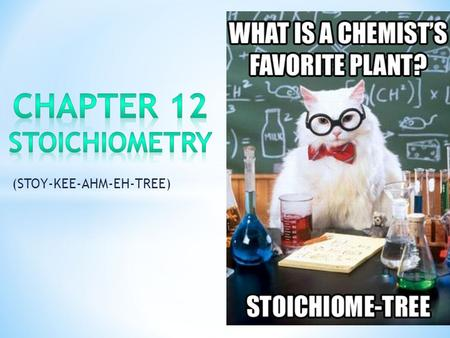 (STOY-KEE-AHM-EH-TREE). Stoichiometry is the part of chemistry that studies amounts of reactants and products that are involved in reactions. Chemists.