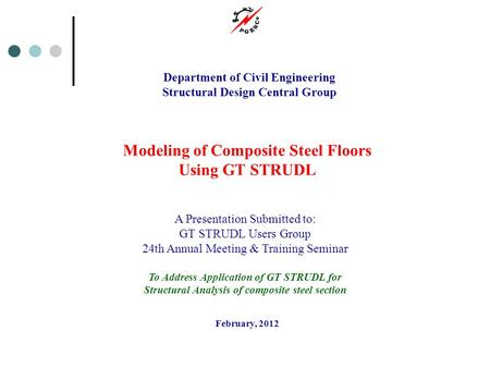 Modeling of Composite Steel Floors Using GT STRUDL
