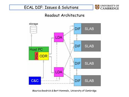 Maurice Goodrick & Bart Hommels, University of Cambridge ECAL DIF: Issues & Solutions Readout Architecture.