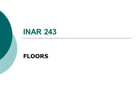 INAR 243 FLOORS.  Structural element  Proper ground for functions.