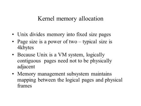 Kernel memory allocation