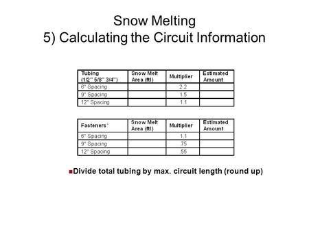 Snow Melting 5) Calculating the Circuit Information Divide total tubing by max. circuit length (round up)