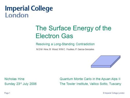 © Imperial College LondonPage 1 The Surface Energy of the Electron Gas Nicholas Hine Sunday 23 rd July 2006 Quantum Monte Carlo in the Apuan Alps II The.