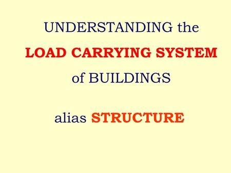 Alias STRUCTURE UNDERSTANDING the LOAD CARRYING SYSTEM of BUILDINGS.
