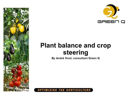 Plant balance and crop steering By André Kool, consultant Green Q