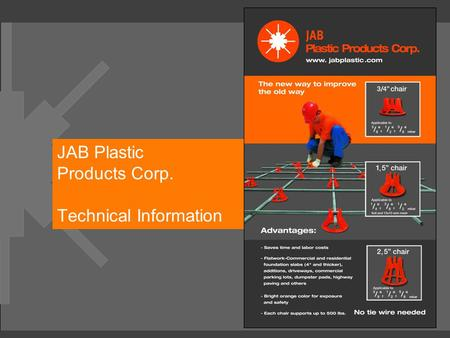 JAB Plastic Products Corp. Technical Information.