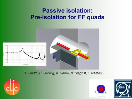 Passive isolation: Pre-isolation for FF quads A. Gaddi, H. Gerwig, A. Hervé, N. Siegrist, F. Ramos.