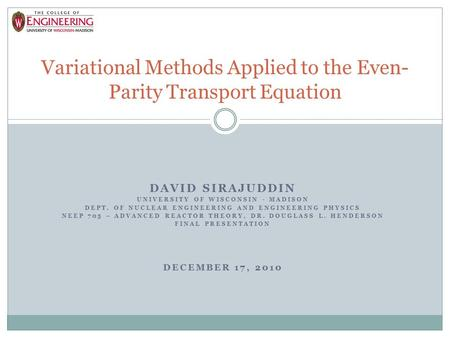 Variational Methods Applied to the Even-Parity Transport Equation