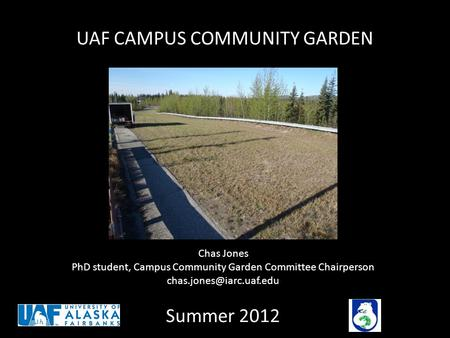 UAF CAMPUS COMMUNITY GARDEN Summer 2012 Chas Jones PhD student, Campus Community Garden Committee Chairperson