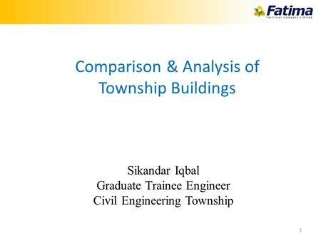 1 Sikandar Iqbal Graduate Trainee Engineer Civil Engineering Township Comparison & Analysis of Township Buildings.