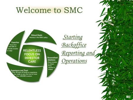 Welcome to SMC Starting Backoffice Reporting and Operations 2.