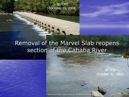Removal of the Marvel Slab reopens section of the Cahaba River Photos Courtesy of Paul Freeman, The Nature Conservancy BEFORE (October 15, 2004) AFTER.