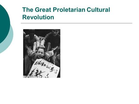 The Great Proletarian Cultural Revolution. Cultural Revolution and the study of non-democratic regimes  Lack of institutional checks on political authority.