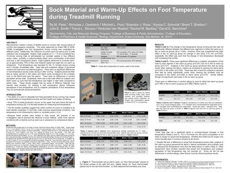 Sock Material and Warm-Up Effects on Foot Temperature during Treadmill Running Tej M. Patel, 1 Nicholas J. Oestreich, 2 Mitchell L. Post, 2 Brandon J.