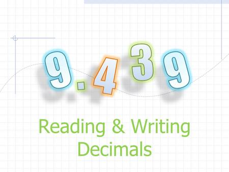 Reading & Writing Decimals. . TenthsOnes Decimal.1 Lets take a look at the places and the values of decimals. 1 Tens 10 Hundredths.01.001 Thousandths.