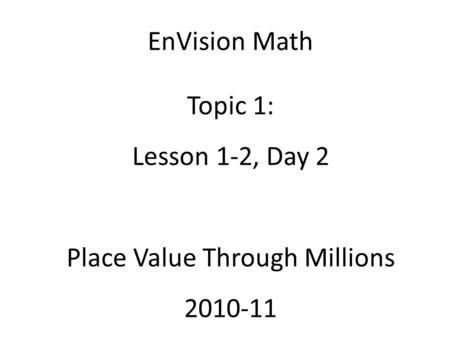 Place Value Through Millions