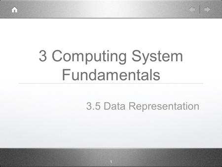 1 3 Computing System Fundamentals 3.5 Data Representation.