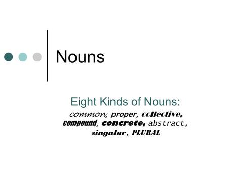 Nouns Eight Kinds of Nouns: common, proper, collective, compound, concrete, abstract, singular, plural.