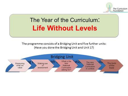 The Year of the Curriculum : Life Without Levels The programme consists of a Bridging Unit and five further units: (Have you done the Bridging Unit and.