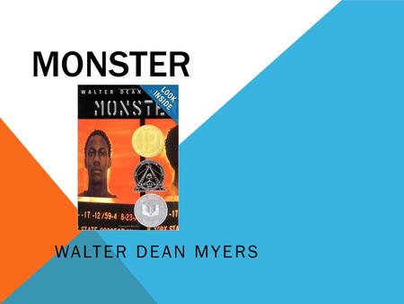 MONSTER WALTER DEAN MYERS. born on August 12, 1937 in Martinsburg, West Virginia When he was a baby, his mother died and his father, who was extremely.