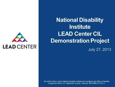 The LEAD Center is led by National Disability Institute and is funded by the Office of Disability Employment Policy, U.S. Department of Labor, Grant No.