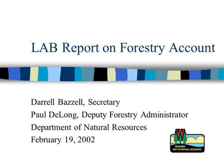 LAB Report on Forestry Account Darrell Bazzell, Secretary Paul DeLong, Deputy Forestry Administrator Department of Natural Resources February 19, 2002.