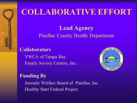 COLLABORATIVE EFFORT Lead Agency Pinellas County Health Department Collaborators YWCA of Tampa Bay Family Service Centers, Inc. Funding By Juvenile Welfare.