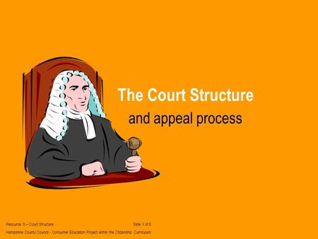The Court Structure and appeal process Resource 1I – Court Structure Slide 1 of 6 Hampshire County Council - Consumer Education Project within the Citizenship.