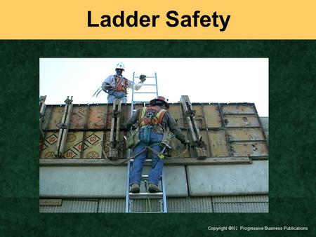 Ladder Safety Today's topic is Ladder Safety. This training is a part of OSHA's Portable Wood and Metal Ladder Safety Standards (29 CFR 1910.25-26). You.