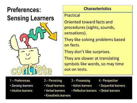 Preferences: Sensing Learners Characteristics Practical Oriented toward facts and procedures (sights, sounds, sensations). They like solving problems based.