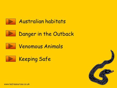 Www.ks1resources.co.uk Australian habitats Danger in the Outback Venomous Animals Keeping Safe.