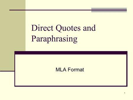 paraphrasing essay mla Quoting and paraphrasing (mla style) how to incorporate the ideas of others into your essay.