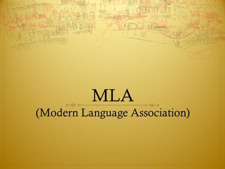 MLA (Modern Language Association). Formatting  Always use Times New Roman font.  The font size should be 12 pt.  Double-space the text of your paper.