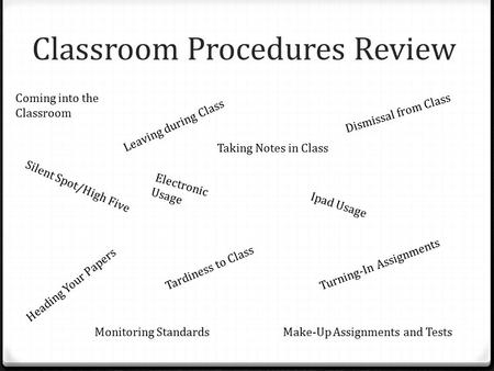 Classroom Procedures Review Coming into the Classroom Electronic Usage Silent Spot/High Five Tardiness to Class Leaving during Class Dismissal from Class.