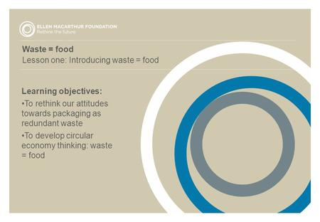Waste = food Lesson one: Introducing waste = food Learning objectives: To rethink our attitudes towards packaging as redundant waste To develop circular.