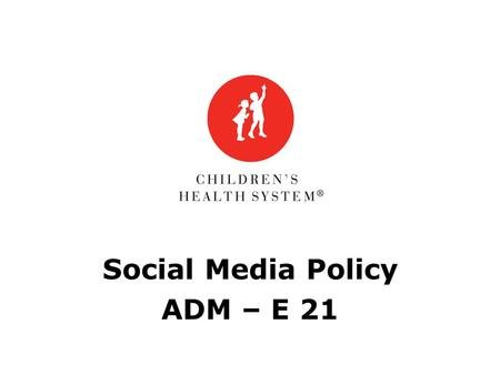 Social Media Policy ADM – E 21. CHS Social Media Policy Social media = media designed to be disseminated through social interaction, created using highly.