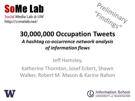 30,000,000 Occupation Tweets A hashtag co-occurrence network analysis of information flows Jeff Hemsley, Katherine Thornton, Josef Eckert, Shawn Walker,