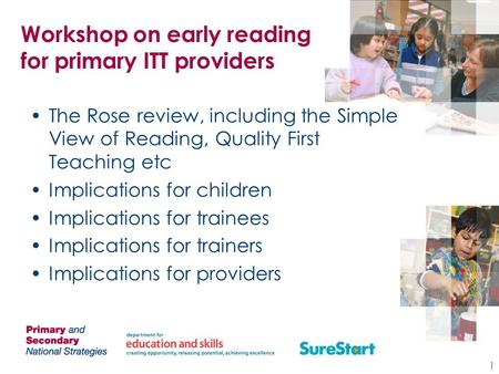 Workshop on early reading for primary ITT providers The Rose review, including the Simple View of Reading, Quality First Teaching etc Implications for.