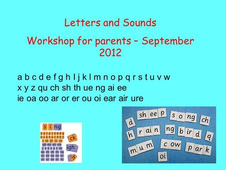 Letters and Sounds Workshop for parents – September 2012 a b c d e f g h I j k l m n o p q r s t u v w x y z qu ch sh th ue ng ai ee ie oa oo ar or er.