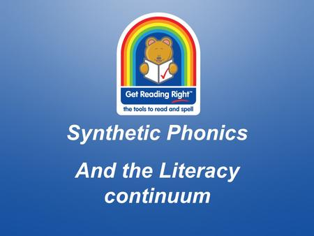 Synthetic Phonics And the Literacy continuum. Introducing… Jodi Warner AP ES1 Janette Hooper- classroom teacher/ I.T. extraordinaire Tracey Currell –