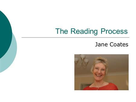 The Reading Process Jane Coates. Mrs Jane Coates Background: Jane Coates - an experienced Social Worker and Primary School Teacher based in Leeds, UK,