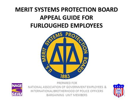 MERIT SYSTEMS PROTECTION BOARD APPEAL GUIDE FOR FURLOUGHED EMPLOYEES PREPARED FOR NATIONAL ASSOCIATION OF GOVERNMENT EMPLOYEES & INTERNATIONAL BROTHERHOOD.