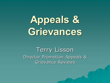 Appeals & Grievances Terry Lisson Director Promotion Appeals & Grievance Reviews.