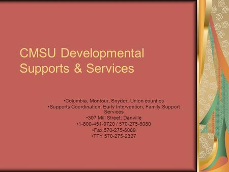 CMSU Developmental Supports & Services Columbia, Montour, Snyder, Union counties Supports Coordination, Early Intervention, Family Support Services 307.