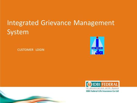 Integrated Grievance Management System CUSTOMER LOGIN.
