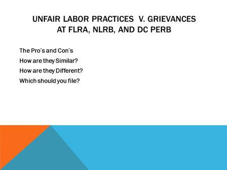Unfair labor practices v. Grievances at FLRA, NLRB, and DC Perb