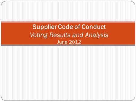 Supplier Code of Conduct Voting Results and Analysis June 2012.