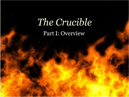 The Crucible Part I: Overview. American play American play Written in the 1950s Written in the 1950s Playwright: Arthur Miller Playwright: Arthur Miller.